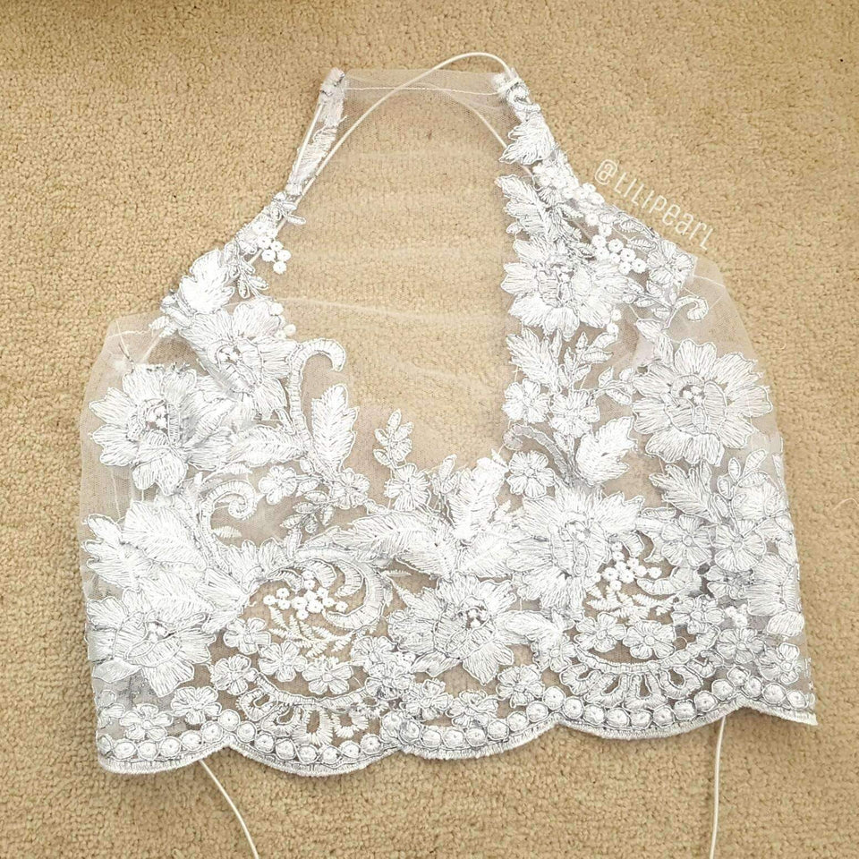Elsa LILIPEARL handmade lace bralet  - LiLiPearl - LiLiPearlUK - Handmade luxury dragon satin chinese unique womens clothing lace mesh prom dress festival crop top sequin bodychain dolls kill depop shopify silkfred chelsea pearl li bralet lili pearl