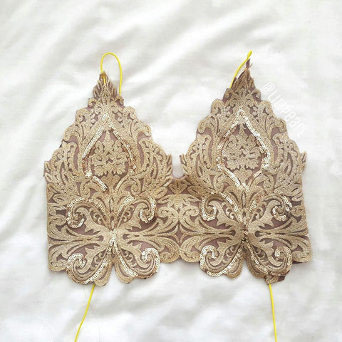 Bronzer LILIPEARL handmade lace bralet - LiLiPearl - LiLiPearlUK - Handmade luxury dragon satin chinese unique womens clothing lace mesh crop top bralet lili pearl