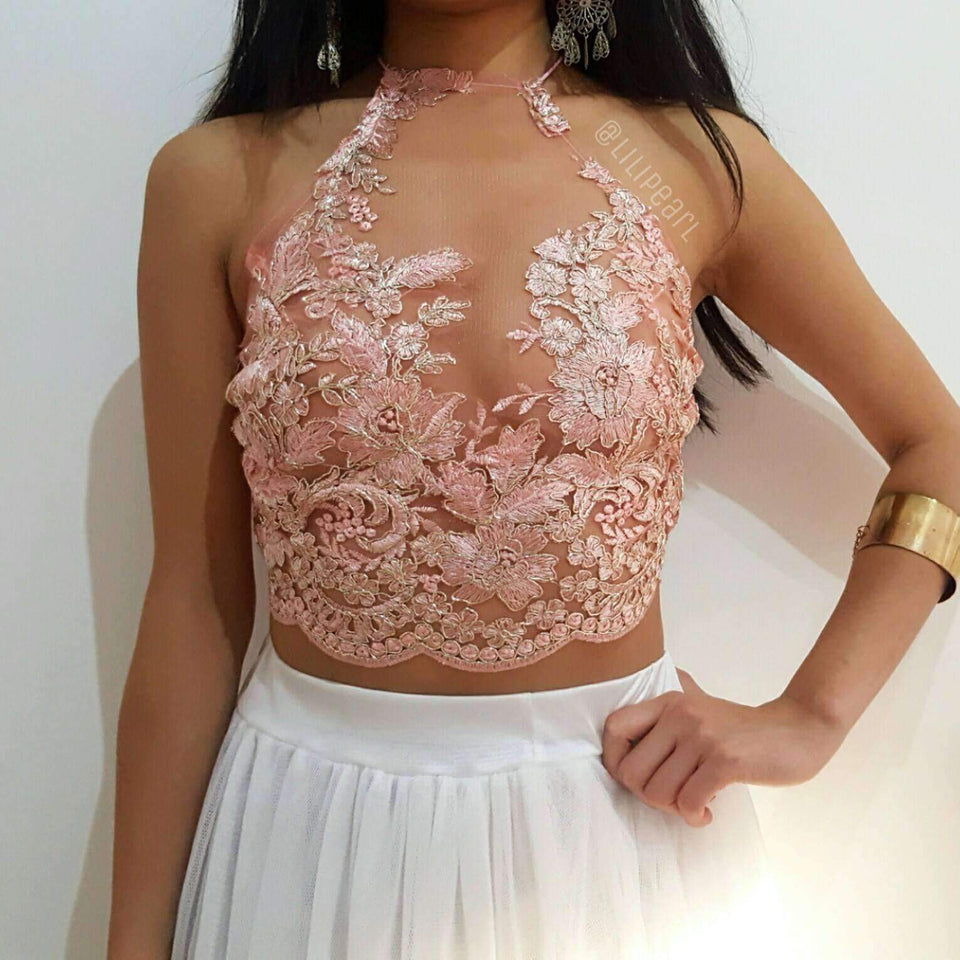 Rose gold halterneck pink LILIPEARL handmade lace bralet  - LiLiPearl - LiLiPearlUK - Handmade luxury dragon satin chinese unique womens clothing lace mesh prom dress festival crop top sequin bodychain dolls kill depop shopify silkfred chelsea pearl li bralet lili pearl