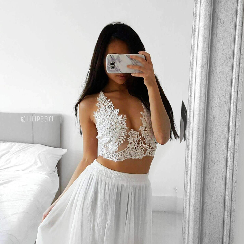 Tiffany white LILIPEARL handmade lace bralet  - LiLiPearl - LiLiPearlUK - Handmade luxury dragon satin chinese unique womens clothing lace mesh prom dress festival crop top sequin bodychain dolls kill depop shopify silkfred chelsea pearl li bralet lili pearl