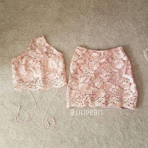 Rose Gold LILIPEARL 2 piece co ord crop top and skirt bundle set - LiLiPearl - LiLiPearlUK - Handmade luxury dragon satin chinese unique womens clothing lace mesh crop top bralet lili pearl