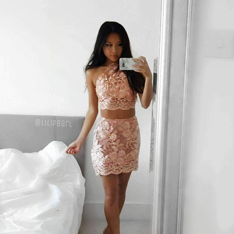 Rose Gold LILIPEARL 2 piece co ord crop top and skirt bundle set - LiLiPearl - LiLiPearlUK - Handmade luxury dragon satin chinese unique womens clothing lace mesh prom dress festival crop top sequin bodychain bralet lili pearl