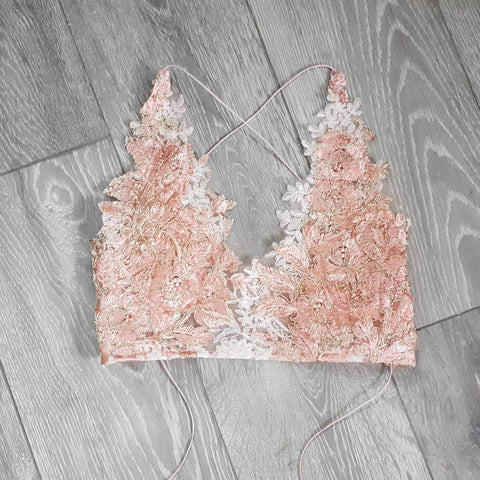 Rose gold Tiffany LILIPEARL handmade lace bralet - LiLiPearl - LiLiPearlUK - Handmade luxury dragon satin chinese unique womens clothing lace mesh crop top bralet lili pearl