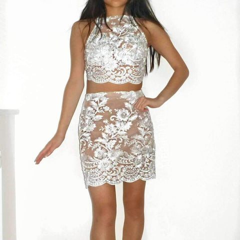 Silver white LILIPEARL crop top and skirt co ord 2 piece bundle set - LiLiPearl - LiLiPearlUK - Handmade luxury dragon satin chinese unique womens clothing lace mesh crop top bralet lili pearl