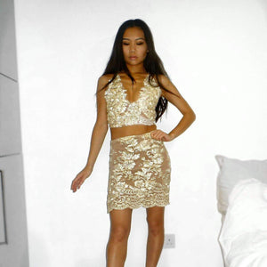 Bellastar LILIPEARL gold triangle crop top and skirt co ord 2 piece bundle set  - LiLiPearl - LiLiPearlUK - Handmade luxury dragon satin chinese unique womens clothing lace mesh prom dress festival crop top sequin bodychain dolls kill depop shopify silkfred chelsea pearl li bralet lili pearl