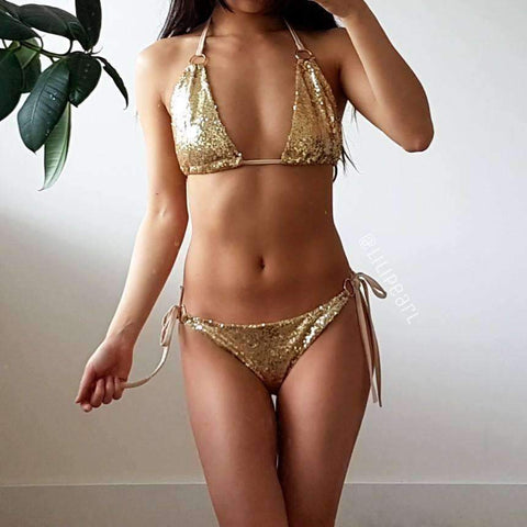 Image of Ibiza Gold LILIPEARL Sequin Bikini set - LiLiPearl - LiLiPearlUK - Handmade luxury dragon satin chinese unique womens clothing lace mesh crop top bralet lili pearl