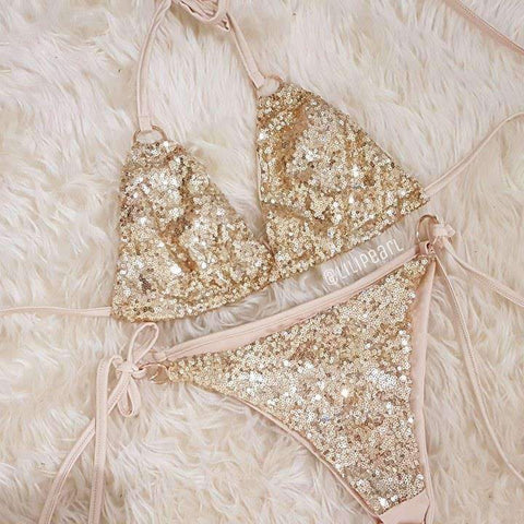 Ibiza Gold LILIPEARL Sequin Bikini set - LiLiPearl - LiLiPearlUK - Handmade luxury dragon satin chinese unique womens clothing lace mesh crop top bralet lili pearl