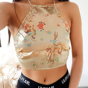 Gold Dragon LILIPEARL handmade halterneck - LiLiPearl - LiLiPearlUK - Handmade luxury dragon satin chinese unique womens clothing lace mesh crop top bralet lili pearl