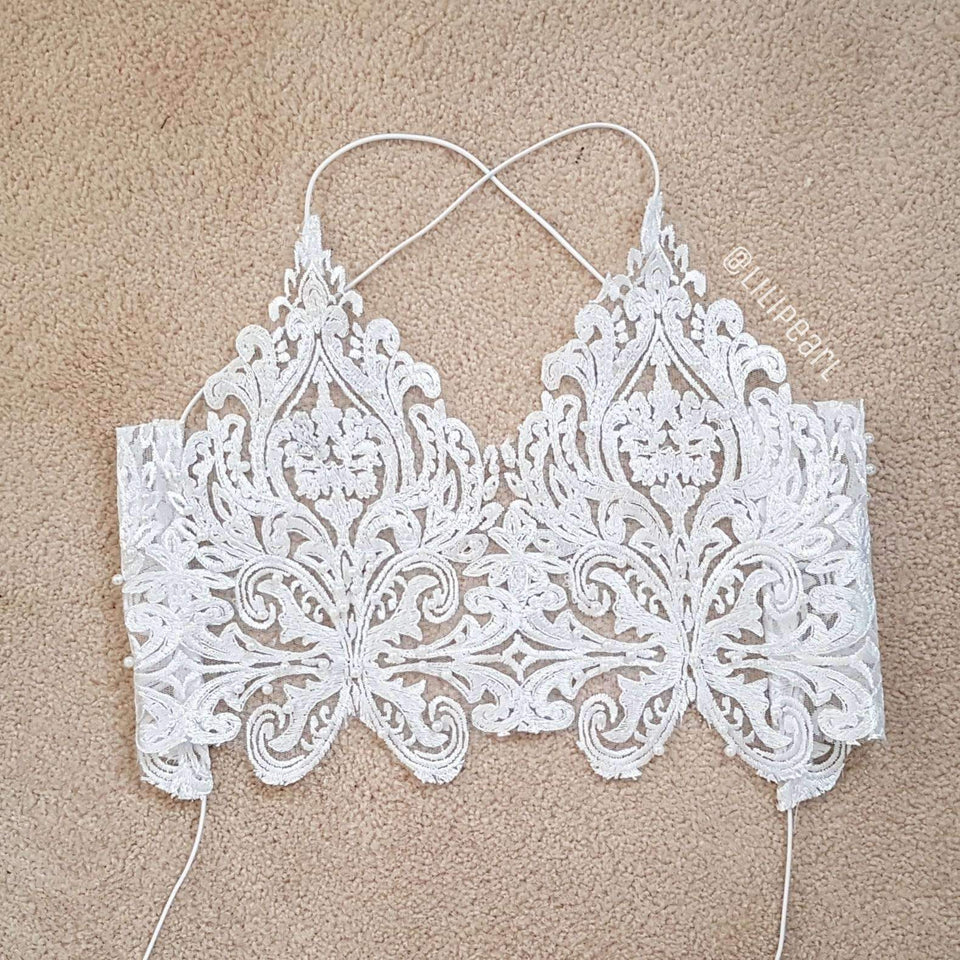 Ice Ice Baby LILIPEARL handmade lace bralet  - LiLiPearl - LiLiPearlUK - Handmade luxury dragon satin chinese unique womens clothing lace mesh prom dress festival crop top sequin bodychain dolls kill depop shopify silkfred chelsea pearl li bralet lili pearl