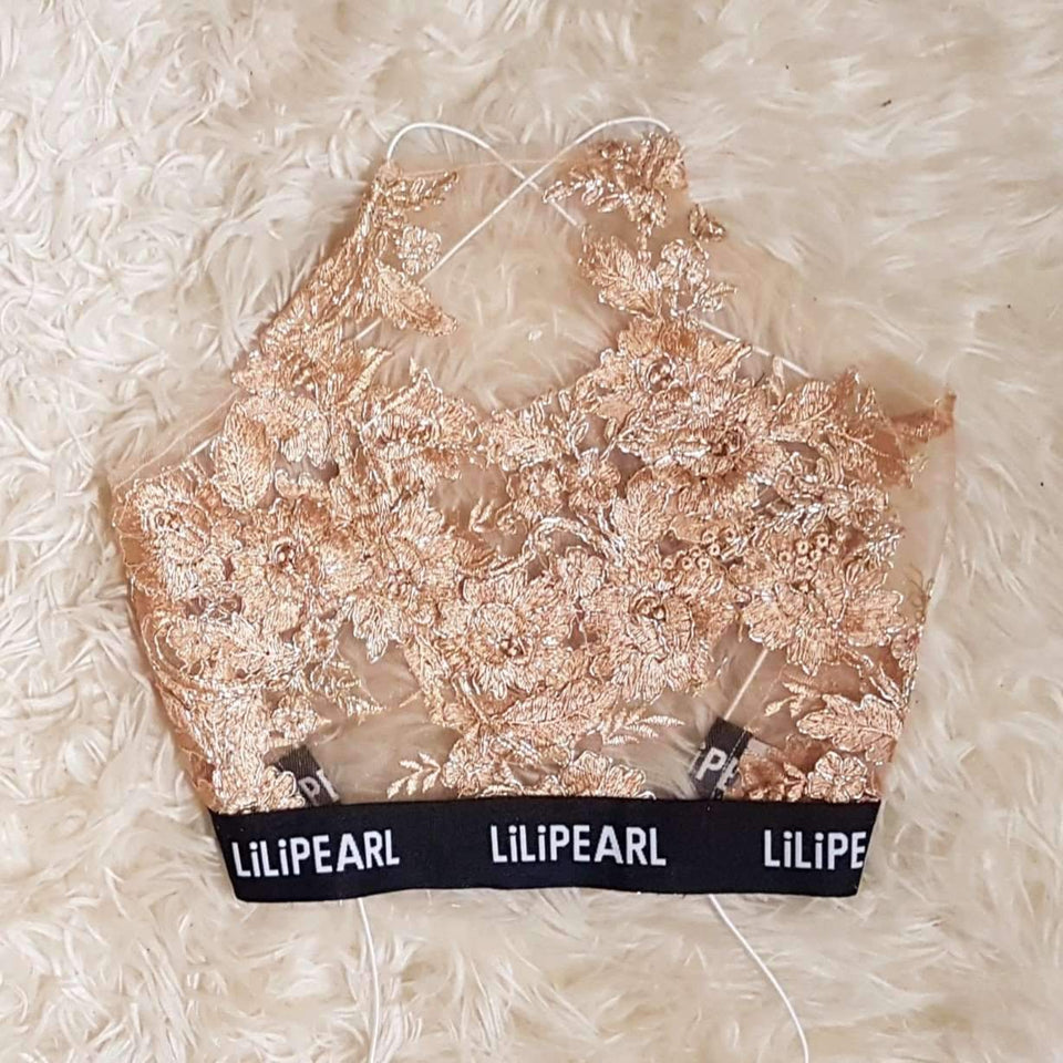 LILIPEARL band bronze Mesh bralet  - LiLiPearl - LiLiPearlUK - Handmade luxury dragon satin chinese unique womens clothing lace mesh prom dress festival crop top sequin bodychain dolls kill depop shopify silkfred chelsea pearl li bralet lili pearl