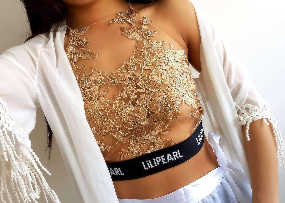 LILIPEARL band bronze Mesh bralet - LiLiPearl - LiLiPearlUK - Handmade luxury dragon satin chinese unique womens clothing lace mesh prom dress festival crop top sequin bodychain bralet lili pearl