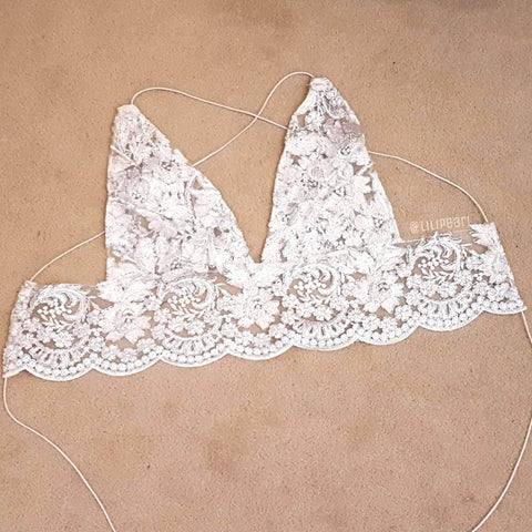 Bali LILIPEARL handmade lace triangle bralet - LiLiPearl - LiLiPearlUK - Handmade luxury dragon satin chinese unique womens clothing lace mesh crop top bralet lili pearl