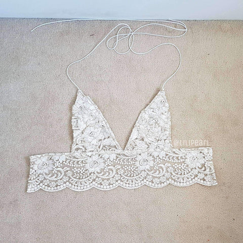 Bali gold LILIPEARL handmade lace triangle bralet - LiLiPearl - LiLiPearlUK - Handmade luxury dragon satin chinese unique womens clothing lace mesh crop top bralet lili pearl