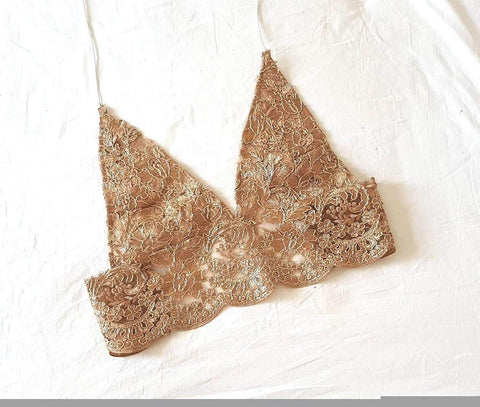 Bali Bronze LILIPEARL handmade lace triangle bralet - LiLiPearl - LiLiPearlUK - Handmade luxury dragon satin chinese unique womens clothing lace mesh crop top bralet lili pearl