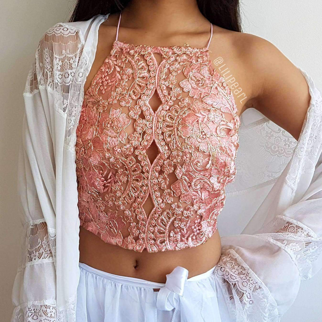 Orchid Rose LILIPEARL handmade lace bralet - LiLiPearl - LiLiPearlUK - Handmade luxury dragon satin chinese unique womens clothing lace mesh crop top bralet lili pearl