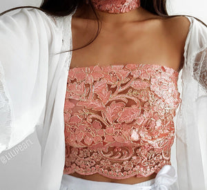 Tayla LILIPEARL rose gold lace strapless bandeau crop top + choker - LiLiPearl - LiLiPearlUK - Handmade luxury dragon satin chinese unique womens clothing lace mesh prom dress festival crop top sequin bodychain bralet lili pearl