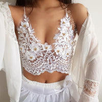 Poppy White LILIPEARL handmade lace bralet - LiLiPearl - LiLiPearlUK - Handmade luxury dragon satin chinese unique womens clothing lace mesh prom dress festival crop top sequin bodychain bralet lili pearl