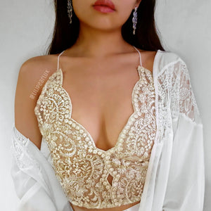 Mina gold LILIPEARL handmade lace bralet  - LiLiPearl - LiLiPearlUK - Handmade luxury dragon satin chinese unique womens clothing lace mesh prom dress festival crop top sequin bodychain dolls kill depop shopify silkfred chelsea pearl li bralet lili pearl