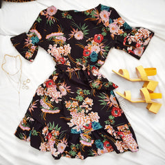 Floral desire LILIPEARL wrap mini dress - Black