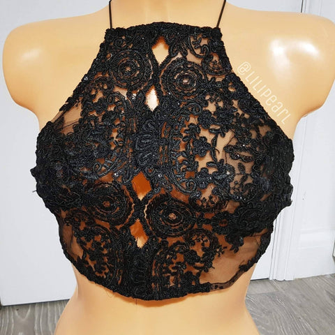 Black Rose LILIPEARL handmade lace bralet