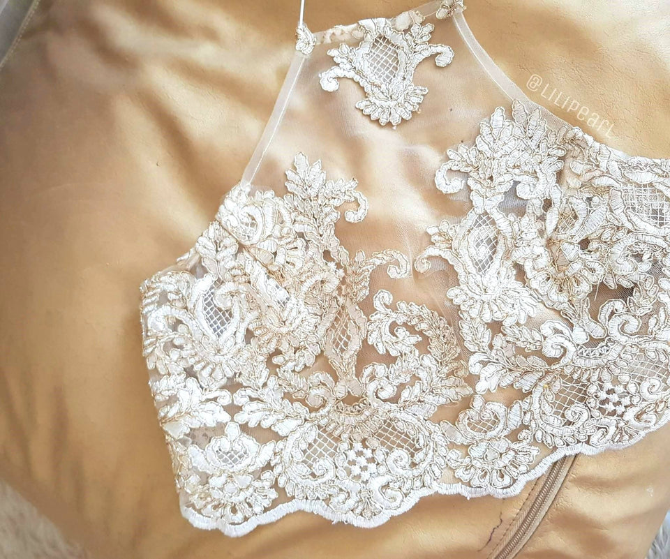 Victoria pale gold LILIPEARL handmade lace bralet - LiLiPearl - LiLiPearlUK - Handmade luxury dragon satin chinese unique womens clothing lace mesh crop top bralet lili pearl