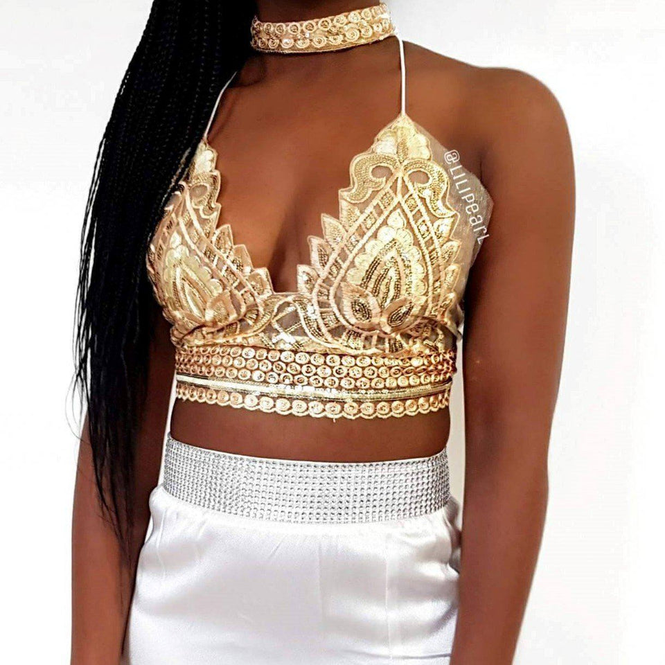 Ana Gold LILIPEARL handmade lace triangle bralet  - LiLiPearl - LiLiPearlUK - Handmade luxury dragon satin chinese unique womens clothing lace mesh prom dress festival crop top sequin bodychain dolls kill depop shopify silkfred chelsea pearl li bralet lili pearl