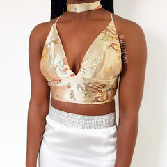 Gold dragon LILIPEARL handmade triangle bralet - LiLiPearl - LiLiPearlUK - Handmade luxury dragon satin chinese unique womens clothing lace mesh crop top bralet lili pearl