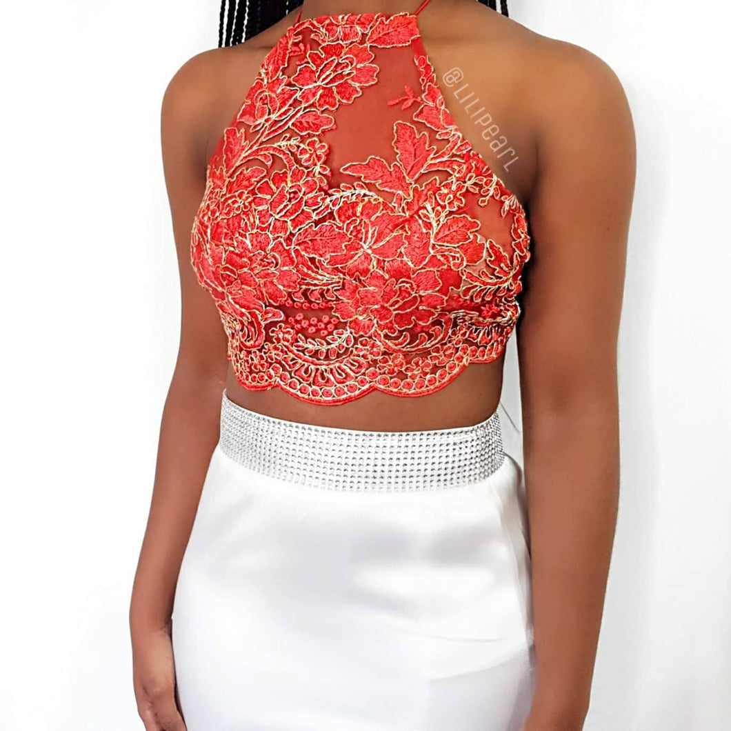 Rouge Red LILIPEARL handmade lace bralet - LiLiPearl - LiLiPearlUK - Handmade luxury dragon satin chinese unique womens clothing lace mesh prom dress festival crop top sequin bodychain bralet lili pearl