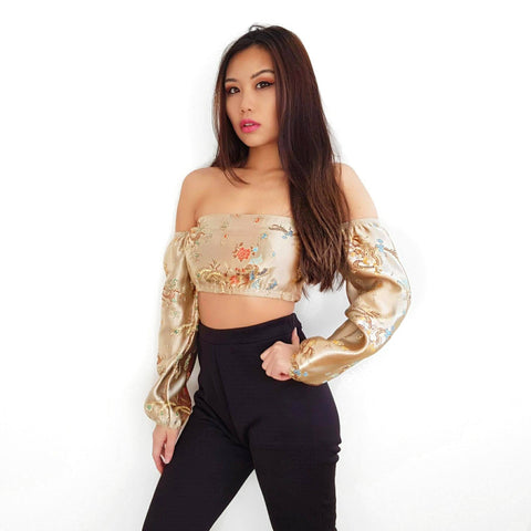 Dragon LILIPEARL Handmade off shoulder long sleeve top (8 colours)