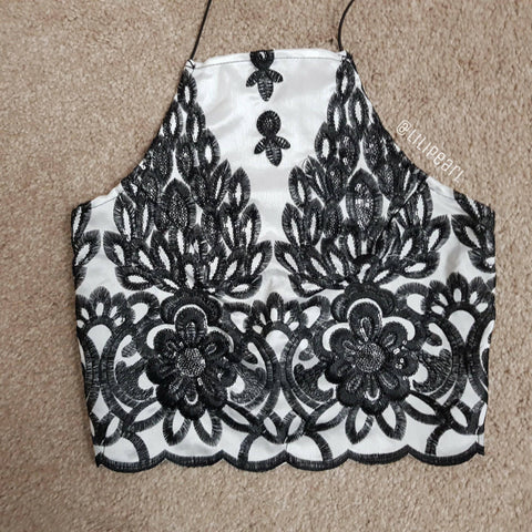 Black & White sequin LILIPEARL handmade lace bralet