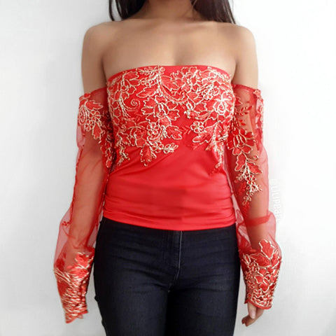 Bella Red LILIPEARL off shoulder mesh long sleeve top