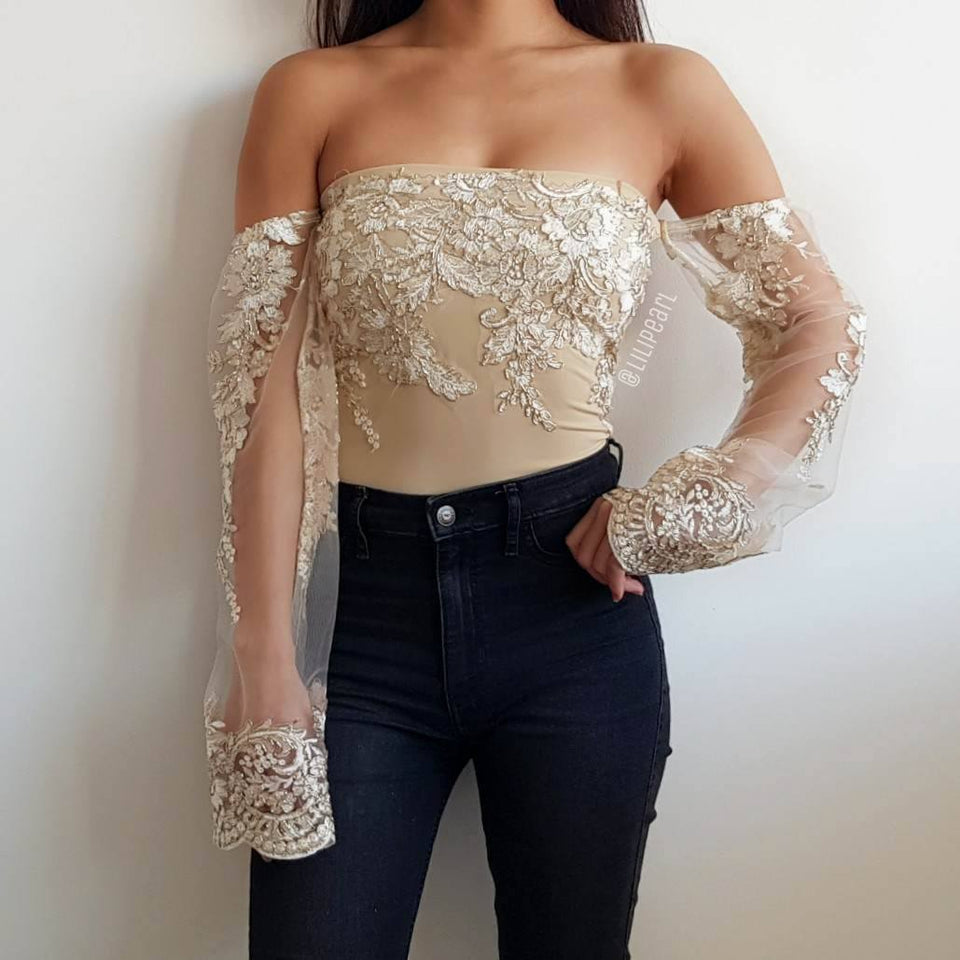 Bella Gold LILIPEARL off shoulder mesh long sleeve top - LiLiPearl - LiLiPearlUK - Handmade luxury dragon satin chinese unique womens clothing lace mesh prom dress festival crop top sequin bodychain bralet lili pearl