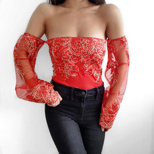 Bella Red LILIPEARL off shoulder mesh long sleeve top - LiLiPearl - LiLiPearlUK - Handmade luxury dragon satin chinese unique womens clothing lace mesh crop top bralet lili pearl