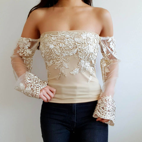 Bella Gold LILIPEARL off shoulder mesh long sleeve top