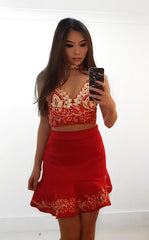 Liliana Red LILIPEARL lace skirt
