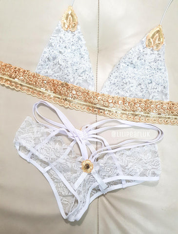 WHITE - Holly LILIPEARL lingerie bra & knicker set + choker (3 piece) - LiLiPearl - LiLiPearlUK - Handmade luxury dragon satin chinese unique womens clothing lace mesh crop top bralet lili pearl