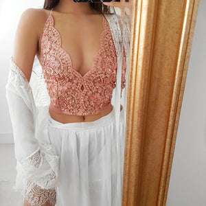 Mina Rose gold pink LILIPEARL handmade lace bralet - LiLiPearl - LiLiPearlUK - Handmade luxury dragon satin chinese unique womens clothing lace mesh prom dress festival crop top sequin bodychain bralet lili pearl