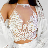 Poppy Halterneck White LILIPEARL handmade lace bralet - LiLiPearl - LiLiPearlUK - Handmade luxury dragon satin chinese unique womens clothing lace mesh crop top bralet lili pearl