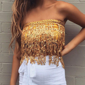 (PRE ORDER) Sequin Gold LILIPEARL tassel belt wrap skirt - LiLiPearl - LiLiPearlUK - Handmade luxury dragon satin chinese unique womens clothing lace mesh crop top bralet lili pearl