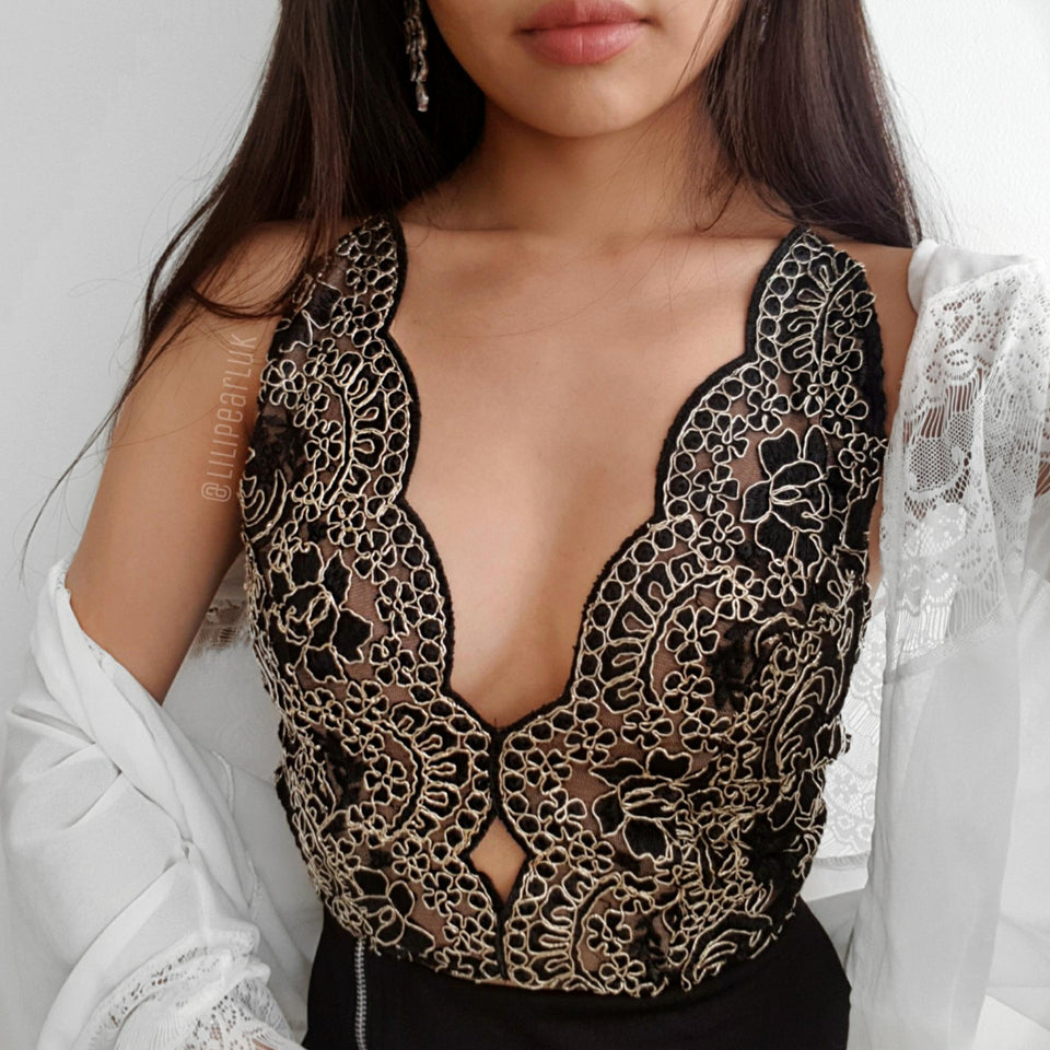 Mina black LILIPEARL handmade lace bralet  - LiLiPearl - LiLiPearlUK - Handmade luxury dragon satin chinese unique womens clothing lace mesh prom dress festival crop top sequin bodychain dolls kill depop shopify silkfred chelsea pearl li bralet lili pearl