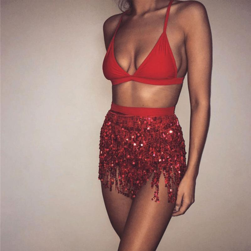 Sequin Red LILIPEARL tassel belt wrap skirt  - LiLiPearl - LiLiPearlUK - Handmade luxury dragon satin chinese unique womens clothing lace mesh prom dress festival crop top sequin bodychain dolls kill depop shopify silkfred chelsea pearl li bralet lili pearl
