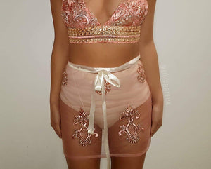 Lux Rose gold LILIPEARL triangle crop top and skirt co ord 2 piece bundle set - LiLiPearl - LiLiPearlUK - Handmade luxury dragon satin chinese unique womens clothing lace mesh crop top bralet lili pearl