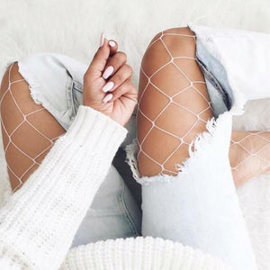 White - LILIPEARL lace mesh fishnet tights