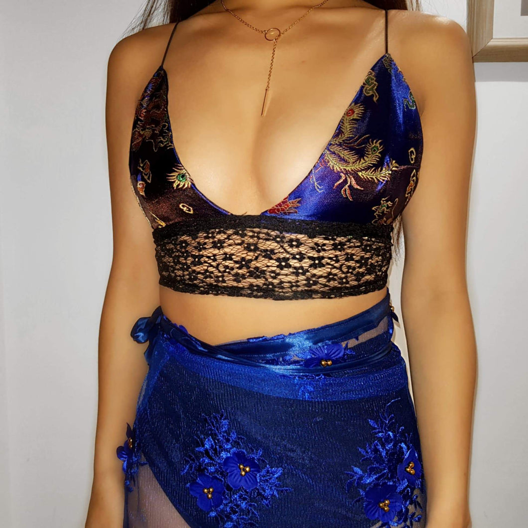 Royal Blue Dragon LILIPEARL handmade triangle lace bralet  - LiLiPearl - LiLiPearlUK - Handmade luxury dragon satin chinese unique womens clothing lace mesh prom dress festival crop top sequin bodychain dolls kill depop shopify silkfred chelsea pearl li bralet lili pearl