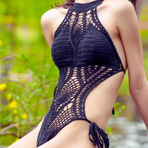 Mindy LILIPEARL crochet lace monokini swimsuit - BLACK