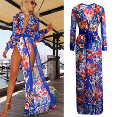 Laura Floral LILIPEARL beach maxi kaftan plunge wrap dress