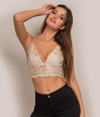Bali gold LILIPEARL handmade lace triangle bralet
