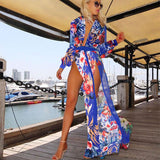 Laura Floral LILIPEARL beach maxi kaftan plunge wrap dress - LiLiPearl - LiLiPearlUK - Handmade luxury dragon satin chinese unique womens clothing lace mesh prom dress festival crop top sequin bodychain bralet lili pearl