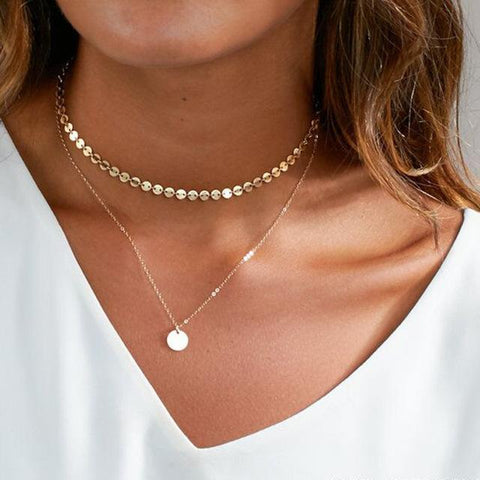 Circle layer LILIPEARL chain necklace