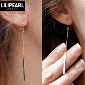 Bar LILIPEARL dangly earrings (1 PAIR)  - LiLiPearl - LiLiPearlUK - Handmade luxury dragon satin chinese unique womens clothing lace mesh prom dress festival crop top sequin bodychain dolls kill depop shopify silkfred chelsea pearl li bralet lili pearl